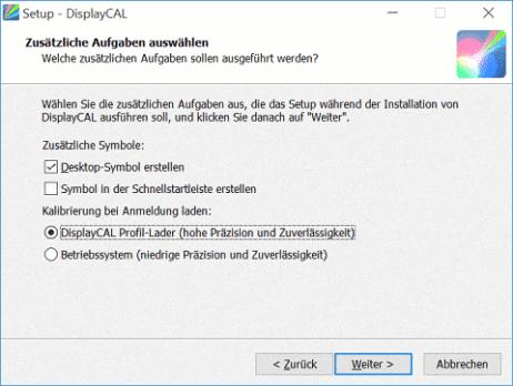 Dialogfeld des Installationsassistenten während der Installation von DisplayCal zur Auswahl verschiedener Optionen