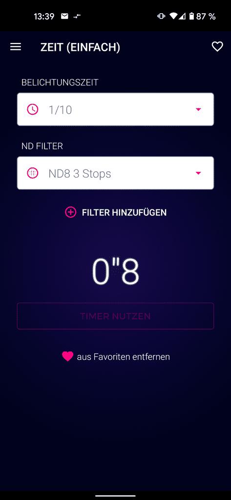 Smartphone Apps für Fotografen - Screenshot der Bedienoberfläche der App ND Filter Expert