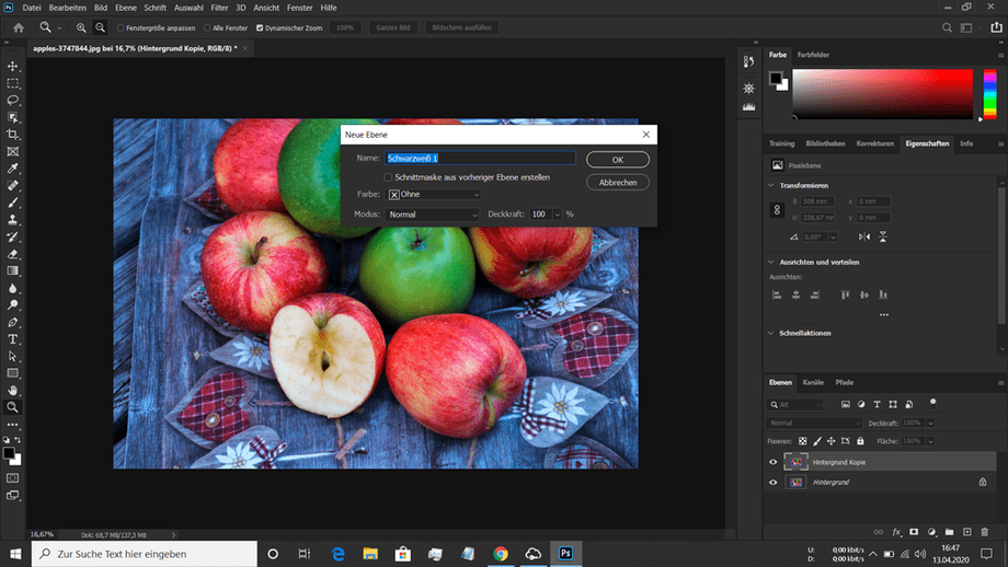 Teilkolorierung Dialogfeld in Photoshop zum Erzeugen einer Einstellungsebene Schwarz Weiss