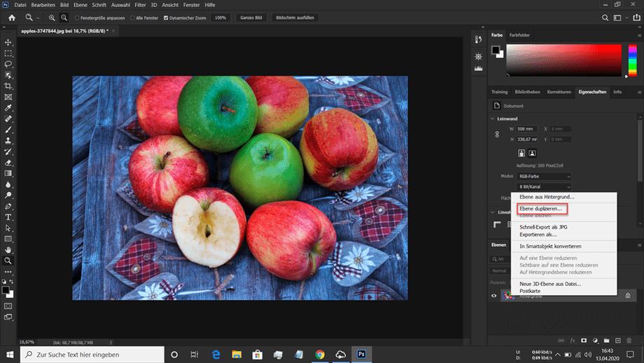Teilkolorierung Dialogfeld in Photoshop zum Duplizieren einer Ebene