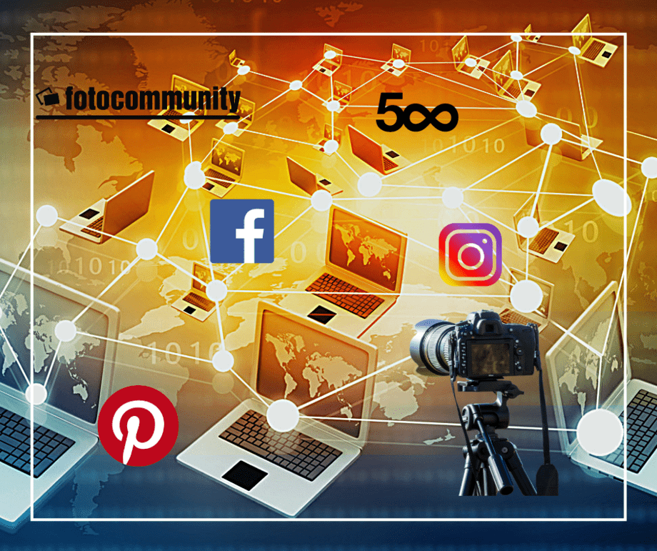 Vernetzte Laptops mit Kamera und Logos der Netzwerke 500px, Facebook, Pinterest, Instagram und der Fotocommunity