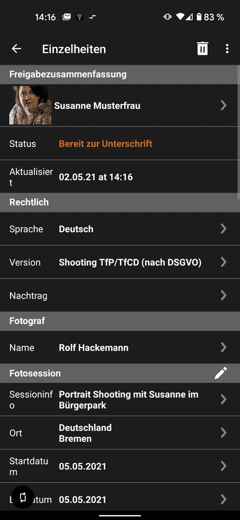 Smartphone Apps für Fotografen - Screenshot aus der App Easy Releas Pro mit Beispiel Vertrag