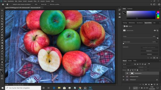 Sill Life mit Äpfeln als Ausgangsbild für die Teilkolorierung
