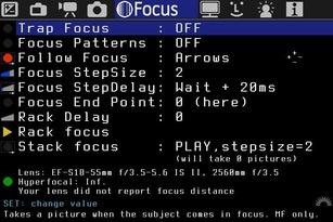 Übersicht des Focus Menüs der alternativen Firmware für Canon DSLR Magic Lantern