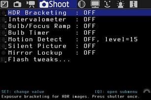 Shoot Menü von der alternativen Firmware für Canon DSLR Magic Lantern