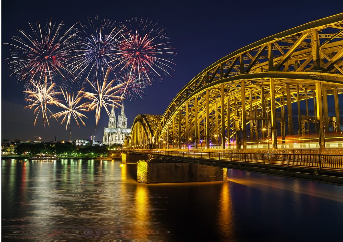 Feuerwerk fotografieren in Köln mit der Hohenzollern Brücke im Vordergrund und dem Kölner Dom mit Feuerwerk im Hintergrund